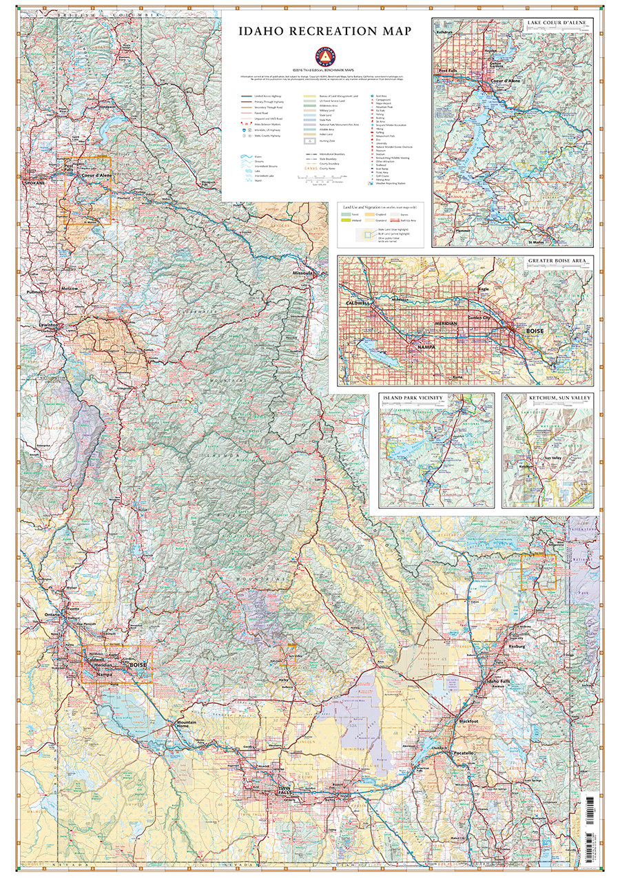 Idaho Recreation Map Benchmark Maps - Idahoe map