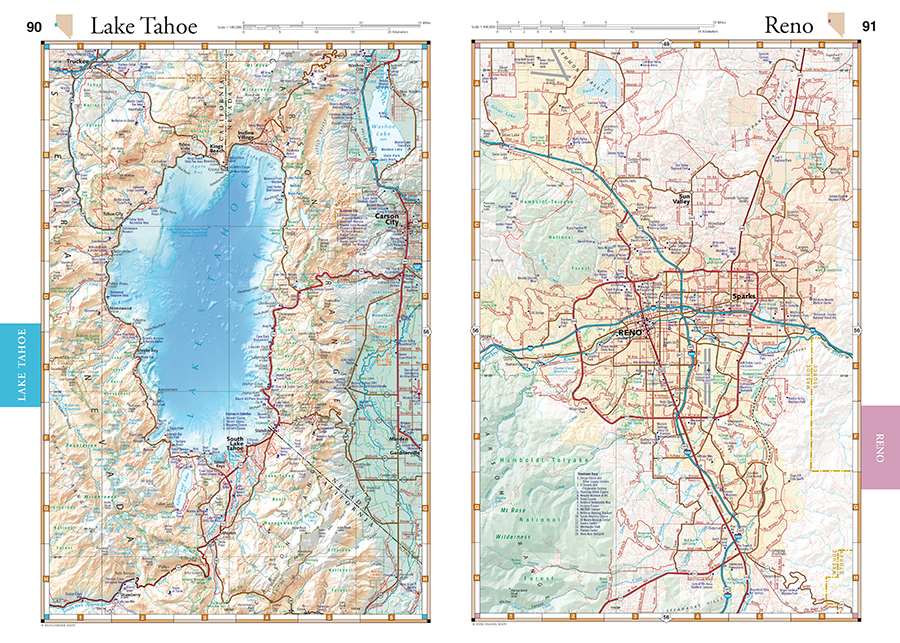 Nevada Road Recreation Atlas Benchmark Maps - Map of reno and lake tahoe