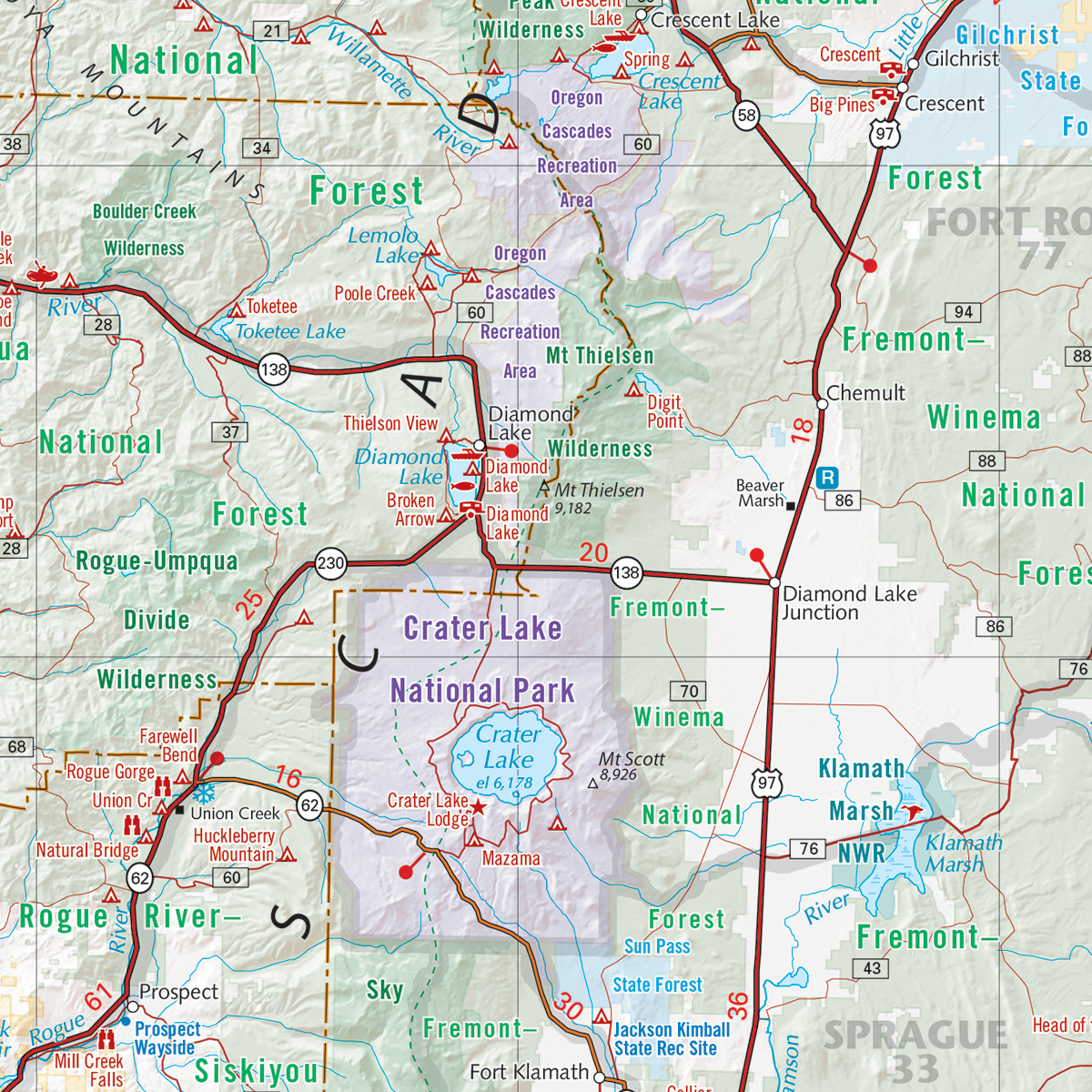 Oregon Recreation Map Benchmark Maps – Map Detail