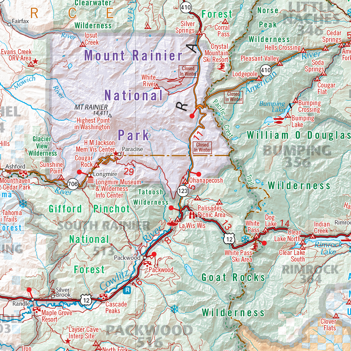 Washington Recreation Wall Map — Benchmark Maps