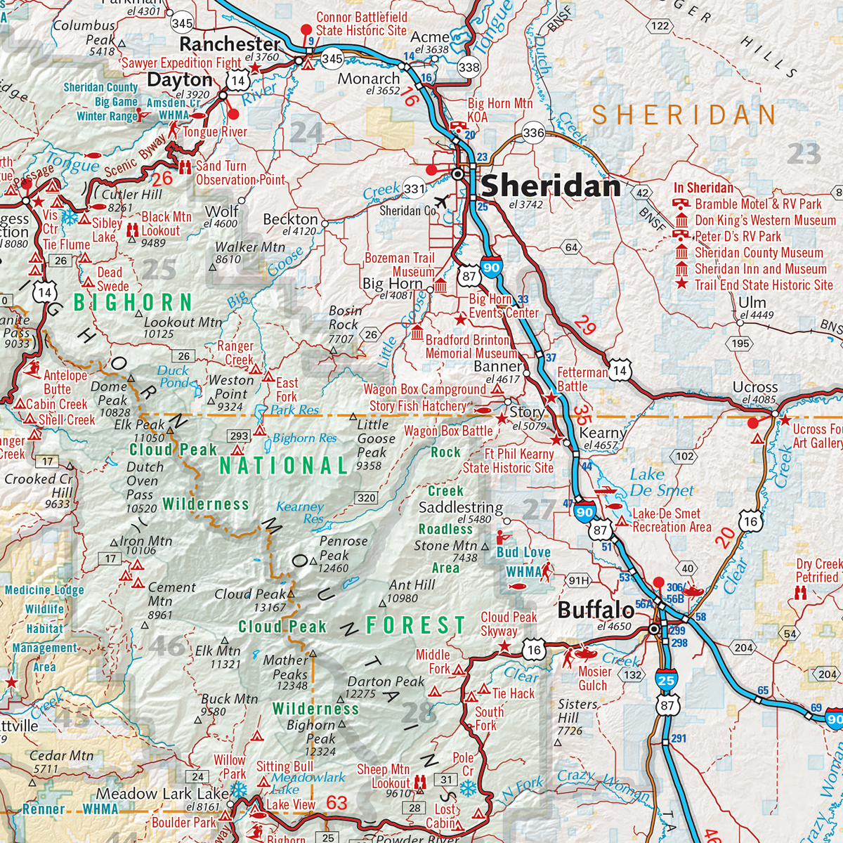 Wyoming Recreation Map Benchmark Maps - Map of wyo
