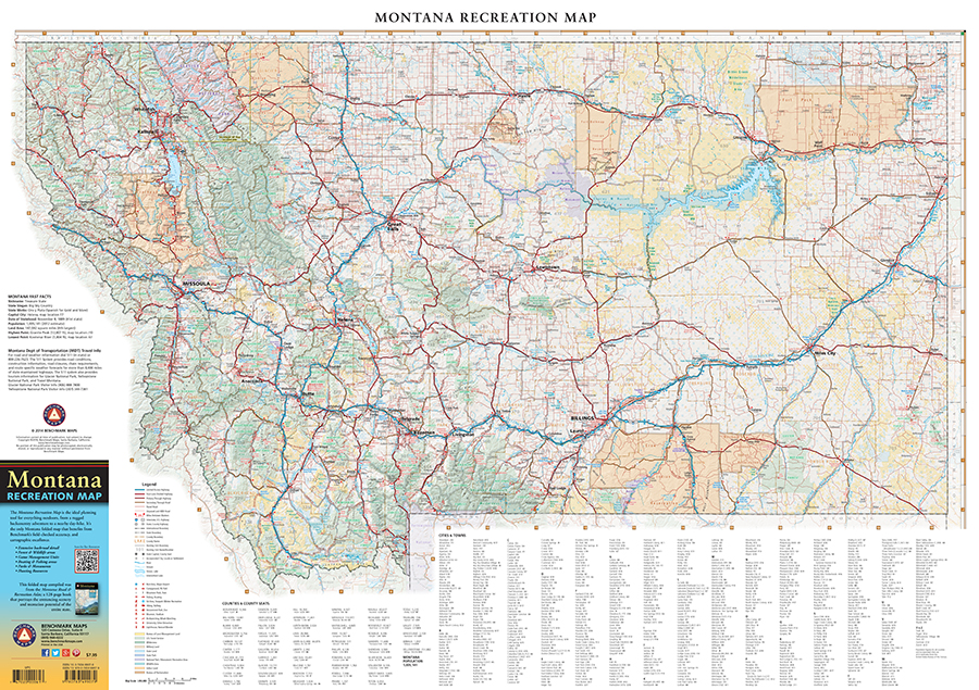 Montana Recreation Map Benchmark Maps - Montana map