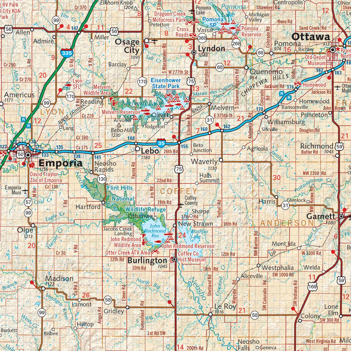 Kansas Recreation Map Benchmark Maps - Ks map