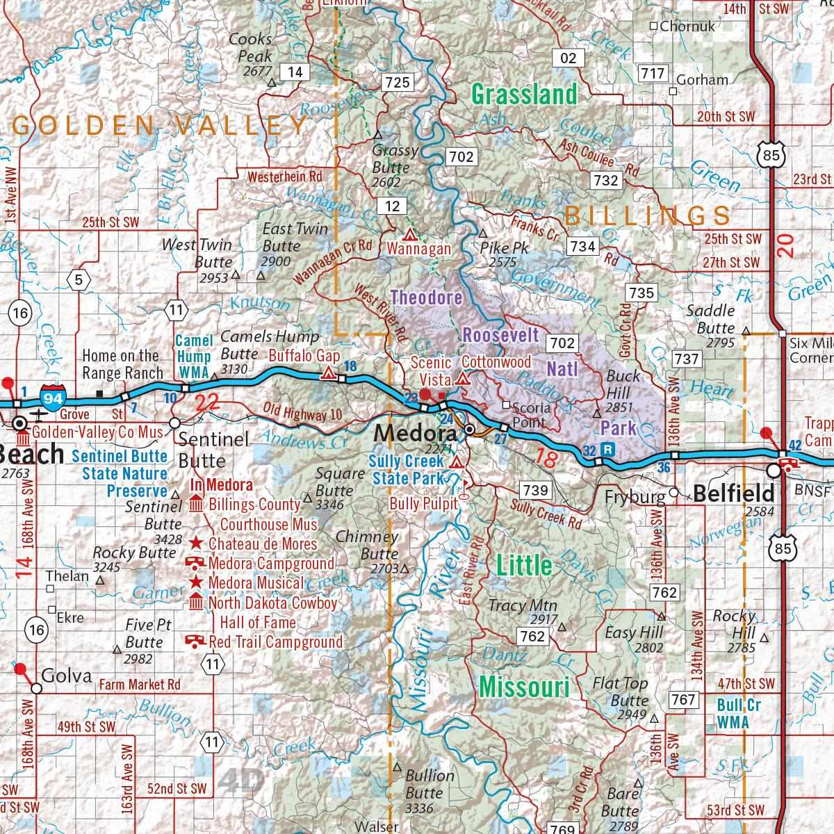 North Dakota Recreation Map Benchmark Maps - Map of nd