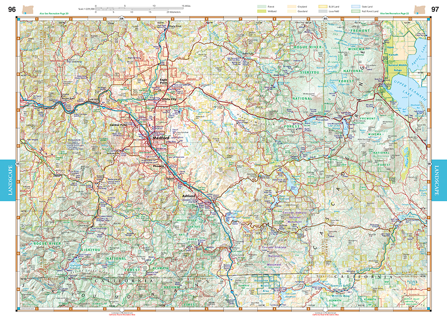 Oregon Road Recreation Atlas Benchmark Maps - Oregon road maps