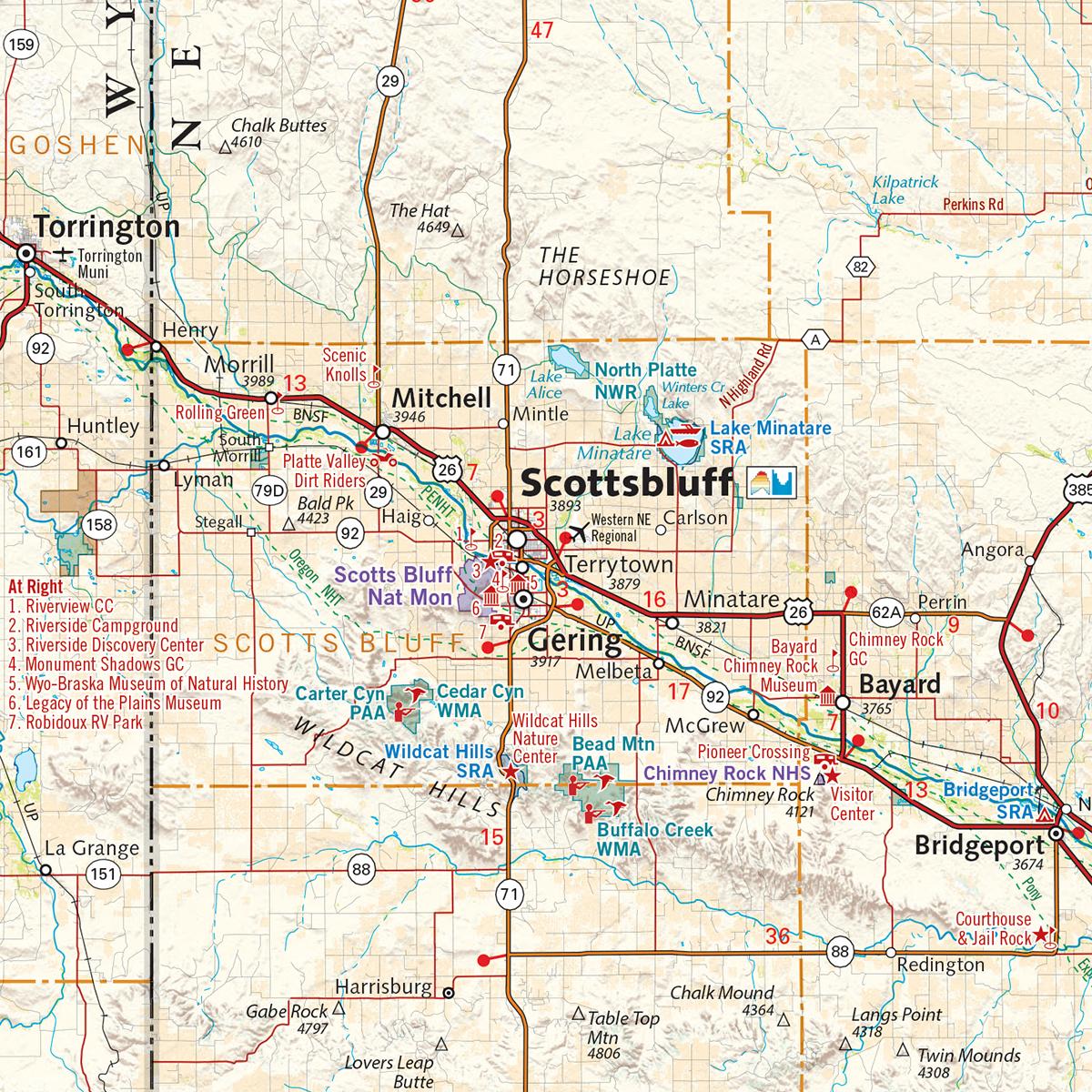 Nebraska Solar Eclipse Wall Map Benchmark Maps - Detailed map of nebraska