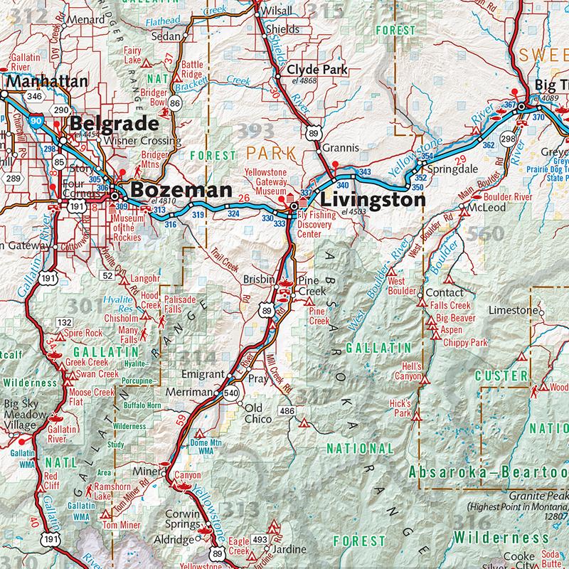 Montana Recreation Wall Map — Benchmark Maps
