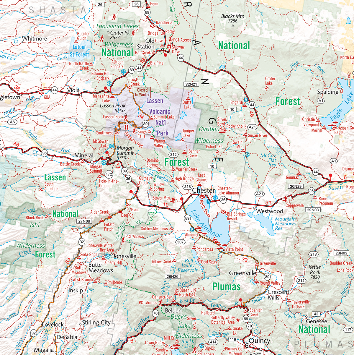 Northern California Recreation Wall Map — Benchmark Maps on