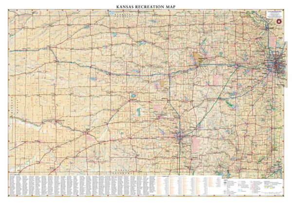 Kansas Recreation Wall Map
