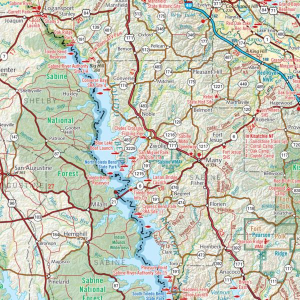 Louisiana Recreation Wall Map