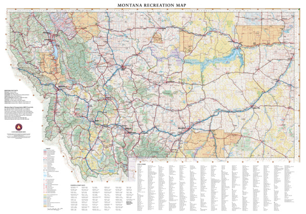 Montana Recreation Wall Map