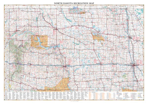 North Dakota Recreation Wall Map