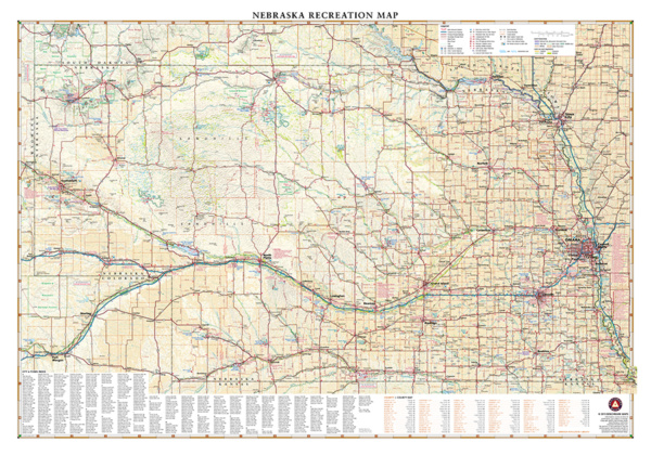 Nebraska Recreation Wall Map