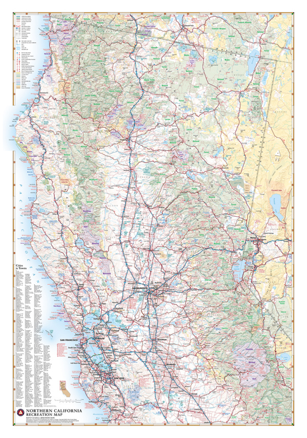 Northern California Recreation Wall Map