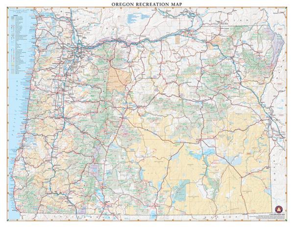 Oregon Recreation Wall Map