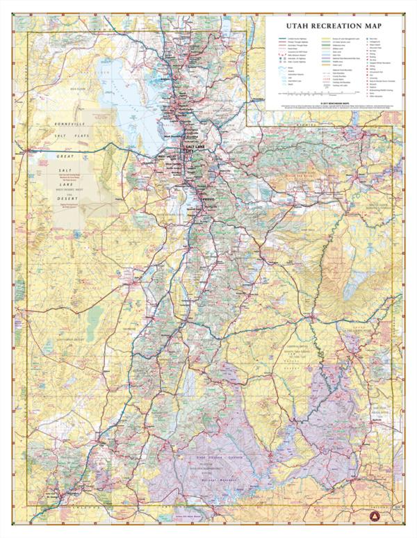 Utah Recreation Wall Map